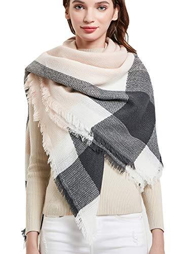 Wander Agio Womens Warm Scarf Square Shawls Infinity Scarves Stripe Big Plaid Grey Pink 11