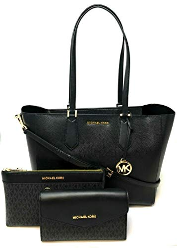 Michael Kors Kimberly 3 In 1 Leather Tote Crossbody Bag Clutch Black