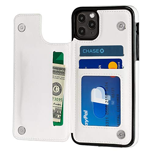S-Tech Case for iPhone 12 / iPhone 12 Pro (6.1 inch) Wallet Card Holder Leather Kickstand Card Slots Case, Double Magnetic Clasp and Durable Shockproof Cover for Apple (White)