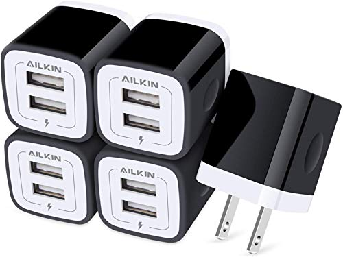 AILKIN USB Wall Plug, [5Pack-2Port] Fast Charging Outlet AC Power Charger Adapter Block Cube for iPhone, iPad, Samsung, Google Pixel, LG, Camera Phones & Tablets Charge Multiple USB Hub Station Base