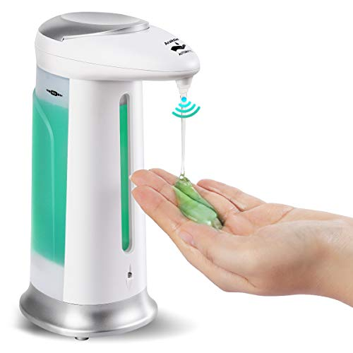Automatic Soap Dispenser, Touch Free Refill Countertop Soap Pump(330ml) with Waterproof Base, No Touch Infrared Sensor Soap Dispenser Suitable for Bathroom,Kitchen,Washroom,Hotel