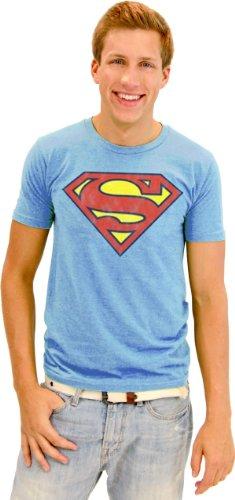 Junk Food Superman Original Logo Adult Light Blue T-Shirt (Adult XX-Large)