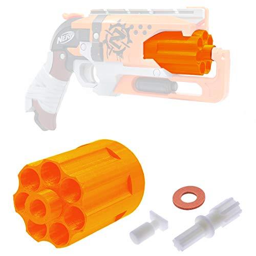 Goshfun 7 Darts Cylinder for Nerf Zombie Strike Hammershot Blaster, Modification Assembly Accessory Toy Kit (Orange)