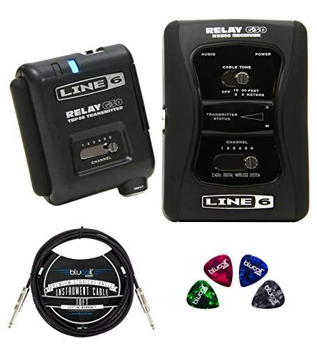 Line 6 Relay G30 Wireless Guitar System Bundle with DC-1g Power Supply, Blucoil 10-FT Straight Instrument Cable (1/4in), and 4-Pack of Celluloid Guitar Picks