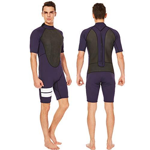 Flexel Wetsuit Shorty Men 2mm Neoprene Surfing Wet Suit, 1.5mm Boys Short Sleeves Snorkeling Suits Swimming Jumpsuit Springsuit (2mm Dark Blue, 3X-Large)