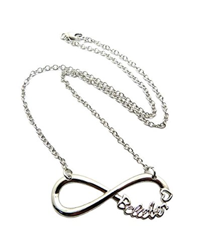 NYFASHION101 Belieber Heart Infinity Loop Pendant 3mm 18' Link Chain Necklace in Silver-Tone