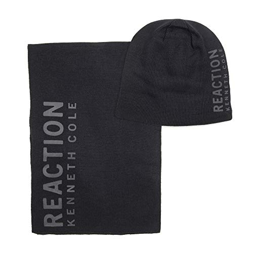 Kenneth Cole REACTION Men's Warm Winter Beanie Hat 7 Scarf Gift Set , -black, One Size