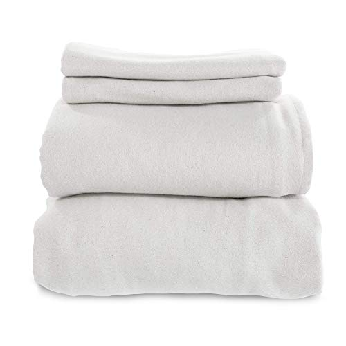 Whisper Organics, Organic Bed Sheets - 4-Pc Flannel Sheet Set - 100% Organic Cotton Flat Sheet + Fitted Sheet + Pillowcases - 170 Gram GOTS Certified Sheets, White (Queen)