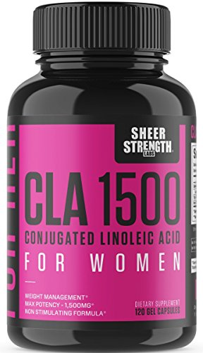Extra Strength CLA for Women - 1500mg High Potency Weight Loss Supplement - Conjugated Lineolic Acid from Safflower Oil - Stimulant-Free Fat Burner - 120 Softgels - Sheer Strength - Packaging May Vary