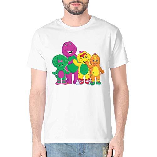 Hongansheng Trading Barney and Friends Mens Fashion Cotton Short Sleeve T-Shirt Round Neck Tee Daily Leisure White