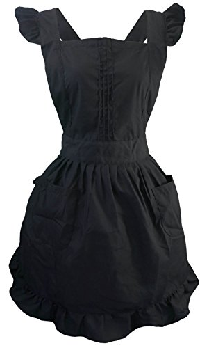 LilMents Retro Adjustable Ruffle Apron with Pockets, Small to Plus Size Ladies (Black)