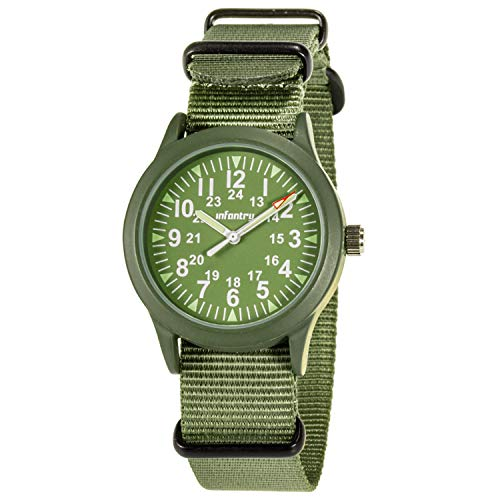 Infantry Mens Army Military Field Analog Watch Ourdoor Sport Tactical Wrist Watches for Men Work Wirstwatch with Green NATO Strap Imported Japanese Quartz Movement