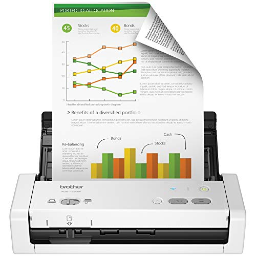 Brother Wireless Portable Compact Desktop Scanner, ADS-1250W, Easy-to-Use, Fast Scan Speeds, Ideal for Home, Home Office or On-the-Go Professionals