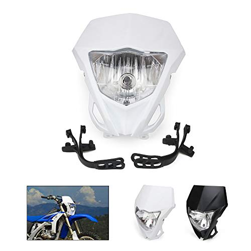 Motorcycle Universal Headlights Head Light Headlamp Street Fighter for Kawasaki Yamaha Suzuki Pit Dirt Bike Motocross Enduro Supermoto (White)