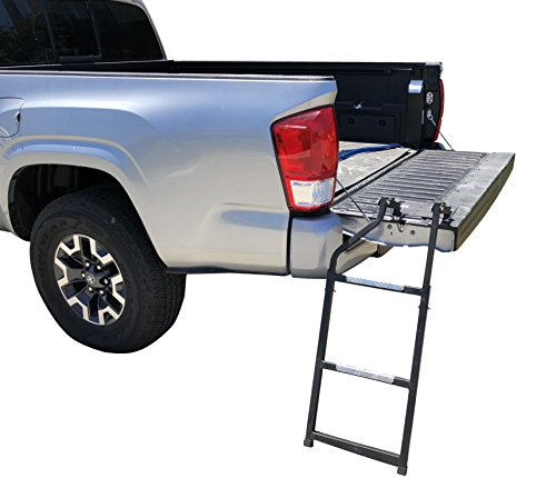 Beech Lane Pickup Truck Tailgate Ladder - Universal Fit, Stainless Steel Self Drilling Hex Screws for Easy Install, Durable Aluminum Step Grip Plates, and Sturdy Rubber Ladder Feet