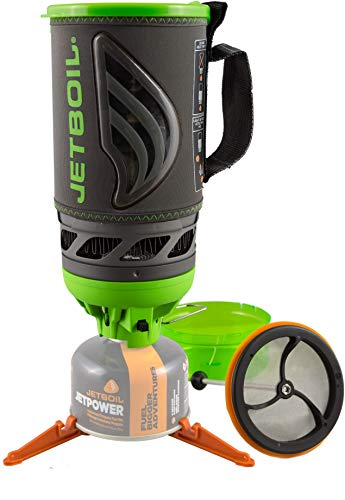 Jetboil Flash Java Kit Camping and Backpacking Stove Cooking System with Silicone French Press Coffee Maker, Ecto Green