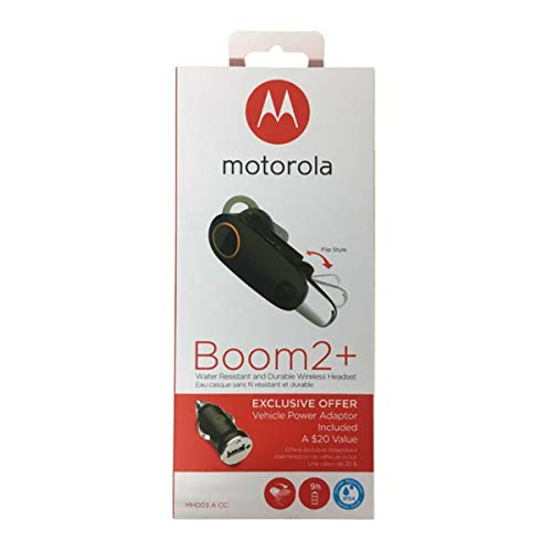 motorola Boom 2+'HD Flip Bluetooth - Water Resistant Durable Wireless Headset W/Car Charger, (US Retail Packing, Black (Boom 2+ with CLA)