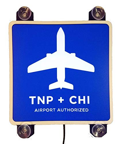 TNP + CHI Sign Light - 6-inch 4 Suction Cups Chicago Airport Lighted Sticker Decal - DC5V USB Power - NO Batteries Needed - SIGNATOM TNP-3000