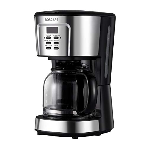 BOSCARE programmable coffee maker,2-12 Cup Drip Coffee Brewer, Mini Coffee Machine with Auto Shut-off,Strength Control,Silver Black