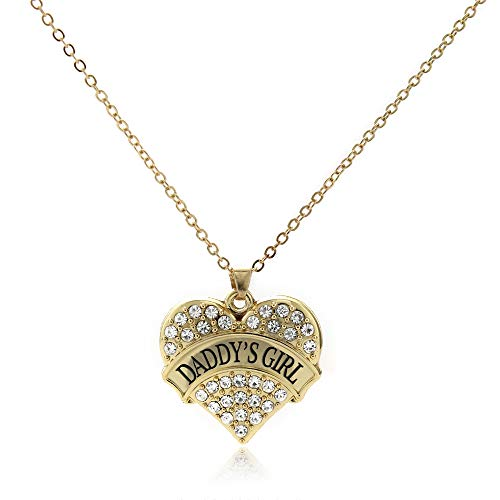 Inspired Silver - Daddy's Girl Charm Necklace for Women - Gold Pave Heart Charm 18 Inch Necklace with Cubic Zirconia Jewelry