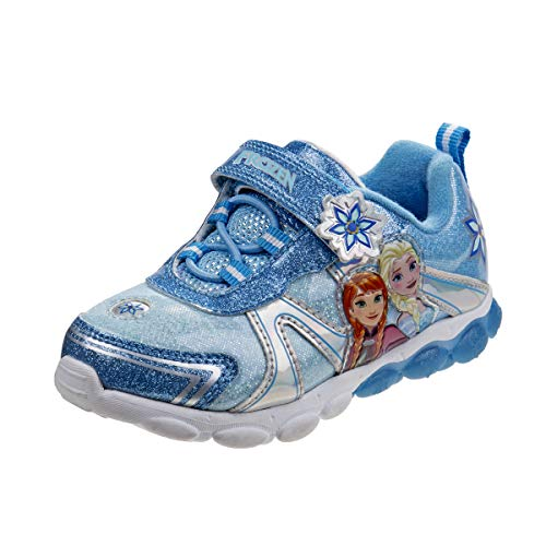 Disney Frozen 2 Girls Fashion Sneakers - Anna and Elsa, Light Up Blue, Size 7 Toddler