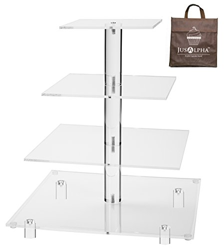 Jusalpha 4 Tier Square Acrylic Cupcake Tower Stand-Cake Stand-Dessert Stand-Cupcake holder-Pastry serving platter-Candy Bar Party Décor-Party Supply(4 Tier With Rod Feet) (4SF-V2)