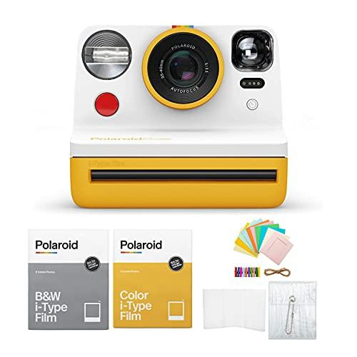 Polaroid Originals Now Viewfinder i-Type Instant Camera Yellow Bundle w/Color & B&W Instant Film & Polaroid Accessory Kit (4 Items)