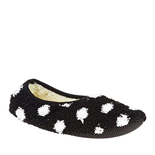 World's Softest Socks Cozy Slippers, Black with White Dots, Large