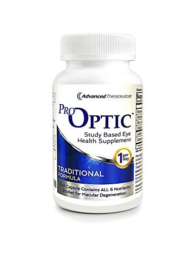 Pro-Optic Traditional AREDS 2 Based Formula (180 Count/One-Per-Day) Contains All 6 Nutrients Studied for Macular Health / 6 Month Supply