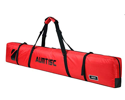 AUMTISC Single Ski Bag Travel Padded to Transport Skis Gear Pocket with Adjustable Handle 170cm Red