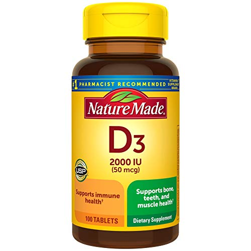 Vitamin D3, 100 Tablets, Vitamin D 2000 IU (50 mcg) Helps Support Immune Health, Strong Bones and Teeth, & Muscle Function, 250% of the Daily Value for Vitamin D in Only One Daily Tablet