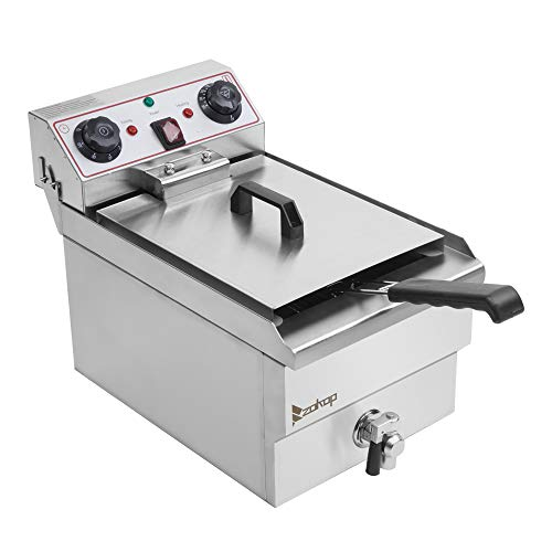 12.5qt/11.8L Large Deep Fryer Stainless Steel Deep Fryers for Home with Basket Faucet 1700W Max Single Tank Electric Air Deep Fryer with Timer for Chicken French Fries Buffalo Wings