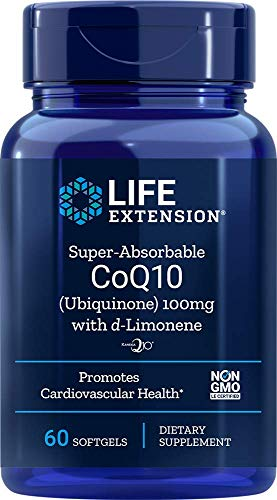 Life Extension Super-Absorbable CoQ10 (Ubiquinone) with d-Limonene 100mg, 60 Softgels