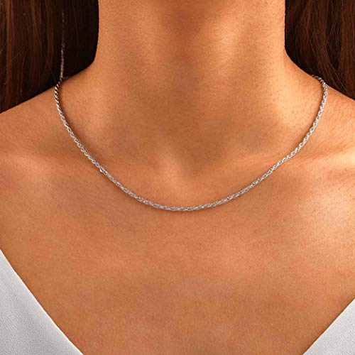Awanka Boho Necklace Word Pendant Necklaces Chain Short Necklaces Jewelry for Women and Girls (Silver)