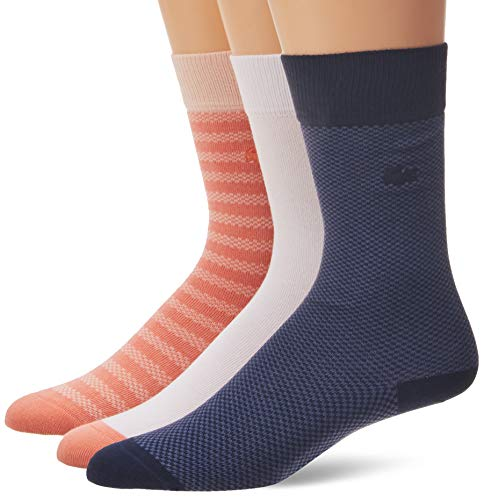 Lacoste Men's Set of 3 Jacquard Father's Day Sock Set, ELF Pink/Lata-Navy Blue-Jasi-White, M ONE