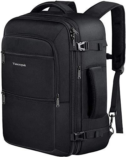 Travel Backpack, 40L Flight Approved Carry On Backpack for Men & Women, Vancropak Expandable Large Luggage Backpack Daypack Water Resistant Lightweight Business Weekender Bag, Black