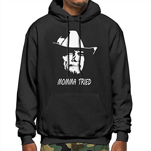 AudryAAeorge Merle Haggard Momma Tried Mens Hoodie Long Sleeve Pullover Hooded Sweatshirt XL Black