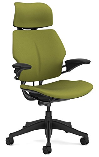 Humanscale Freedom Office Desk Chair with Headrest and Gel Seat - F213 Advanced Adjustable Duron Arms - Graphite Frame Sage Fabric - Soft Hard Floor Casters