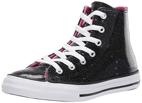Converse Girls' Chuck Taylor All Star Galaxy Glimmer Sneaker, Black/Mod Pink/White, 3 M US Little Kid