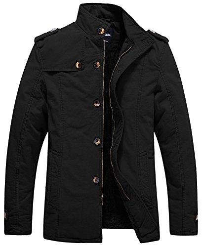 Wantdo Men's Winter Cotton Stand Collar Coat Fleece Lined Windbreaker Jacket US Medium, Black