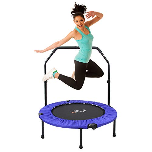 ATIVAFIT 40'Foldable Trampoline Mini Exercise Rebounder with Adjustable Foam Handle Great for Body Fitness Training Indoor/Garden/Workout