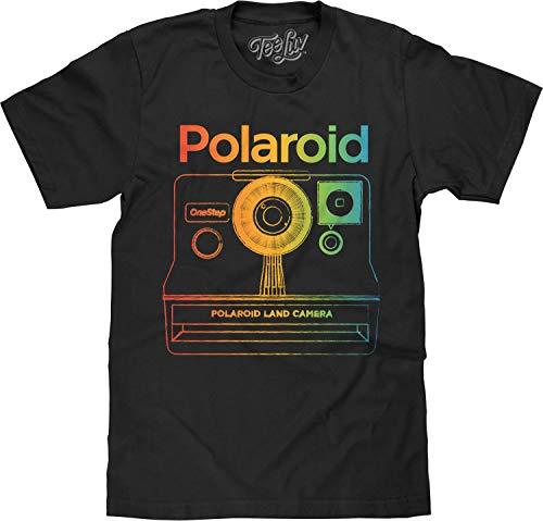 Tee Luv Polaroid Camera Shirt - Polaroid OneStep Instant Graphic T-Shirt (Black) (L)