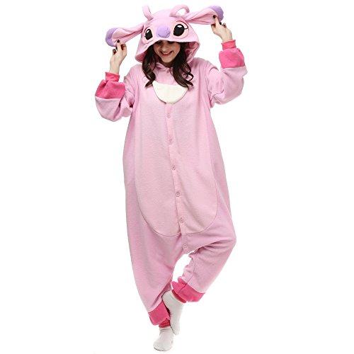 Wishliker Halloween Stitch Kigurumi Onesie Pajamas Costume Unisex Adult Pink,XL:179-188cm(5'11'-6'2')