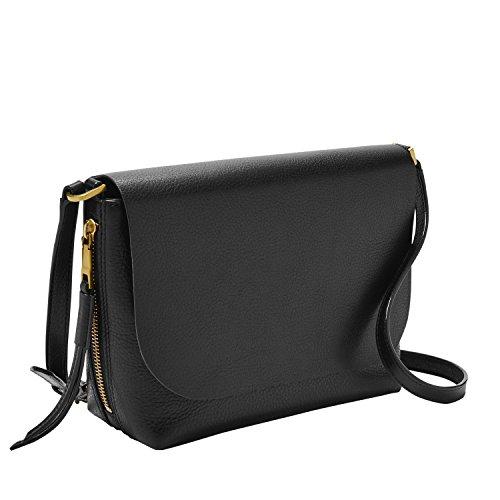 Fossil Women's Maya Leather Small Flap Crossbody Handbag, Black