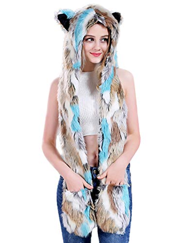 Animal Furry Hood Hat LED Light Faux Fur Rainbow Rave Spirit 3 in 1 Function (green)