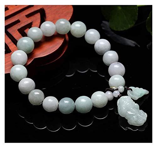 RTUTUR Feng Shui Wealth Bracelet Pixiu Bracelet Natural Green Jade Bangle Jadeite Stretch Bracelet Jade Bracelet, Handmade Buddha Beads Good Fortune Lucky Wealth for Women/Men