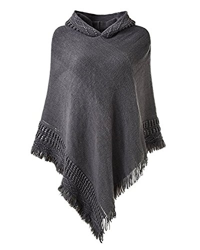 SUNNYME Women Solid Color Poncho Hooded Fringes Crochet Shawl Capes Cover Up Cardigan Grey One Size