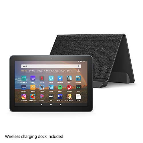 All-new Fire HD 8 Plus tablet, HD display, 64 GB, our best 8' tablet for portable entertainment, Slate + Made for Amazon, Wireless Charging Dock