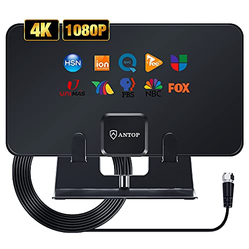 TV Digital Antenna, TV HD Antenna Indoor Up to 80 Miles Long Range Support 4K 1080P Fire tv Stick and All Older TV's UHF VHF Free HDTV Channels, 2021 Newest TV Antenna Indoor with Stand,Black