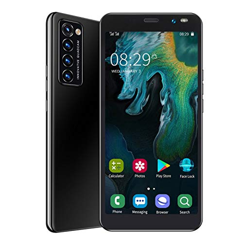 Unlocked Smartphone, 5.45' HD Full Screen Face Fingerprint Unlocked Dual SIM Cell Phone with 128GB Expandable Storage, 1+8GRAM, 2MP+5MP, WiFi +BT+FM, 2200mAh Battery, for Android 6.0(Black)